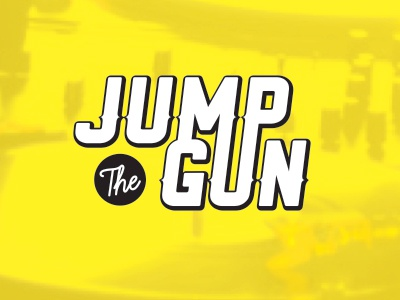 Jump The Gun Logo design illustrator typography black yellow logo producer music dj