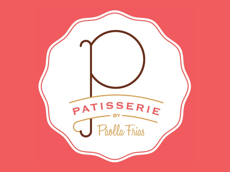 P Patisserie Logo illustrator design chef gold logo patisserie pink cute