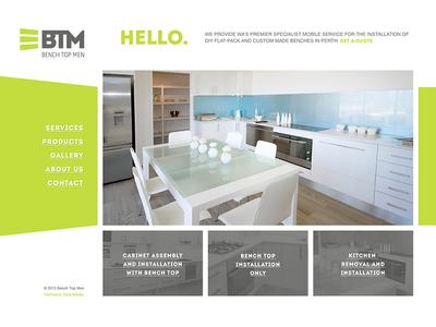 Bench Top Men Website branding clean grey green website design