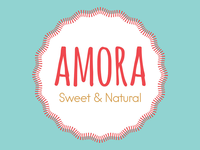 Amora Sweet & Natural Logo simple cute branding brand design gold blue pink logo