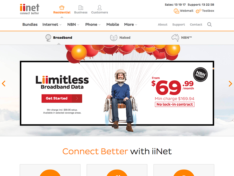 Iinet homepage