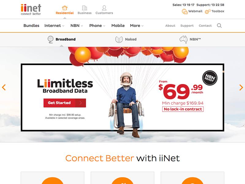 iiNet New Header & Nav corporate red orange visual design ux ui iinet