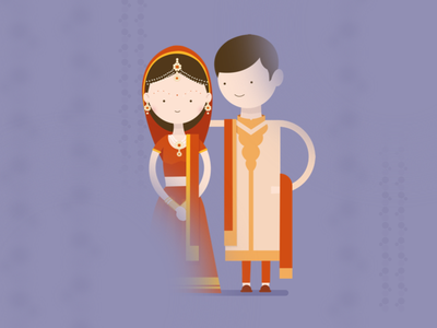Indian couple desktop golden ui vector graphic indian-couple invite wedding design minimal illustration