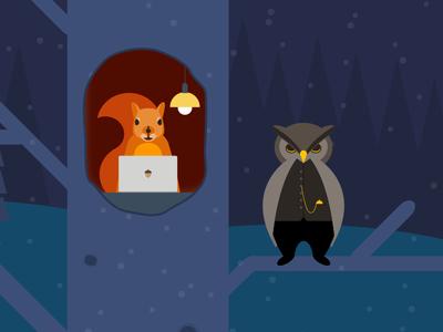 Squirrel & owl illustration holidays productivity forest animals squirrel owl