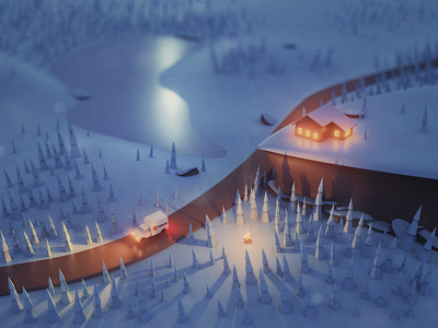 Animated Winter Postcard holidays holiday christmas light snow ice cold render low poly winter animation 3d