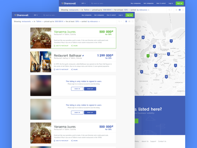 Shareswall Search Views sketch sketchapp ux ui results map business list listing sales search shareswall