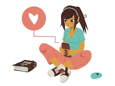 Girl Type On Her Phone design flat love heart book cute image vector phone type girl