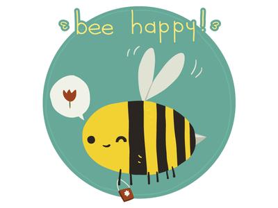 Bee Happy Postcard flower illustrator icon mascot flat stuff fun 2d vector postcard happy bee