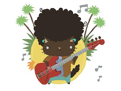 Afro Cat Rocks fun design 2d flat vector guitar rock cat afro