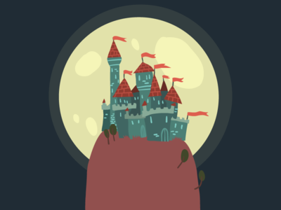 Cartoon Castle On A Hill night background flat 2d vector hill castle cartoon