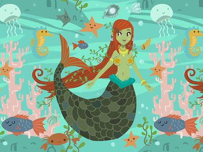 Mermaid Pattern sea fish flat 2d vector girl ocean pattern mermaid