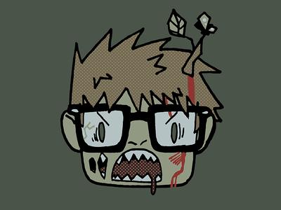Zombie Head hipster halloween cartoon head zombie