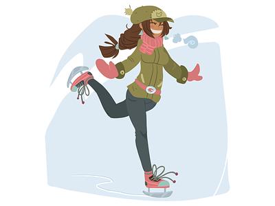 Skate Girl On Ice vector cute design cartoon flat ice on girl skate