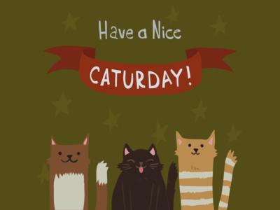 Caturday Postcard cartoon illustration postcard party flat friday saturday caturday cat