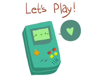 Lets Play cartoon flat cute portable console play lets