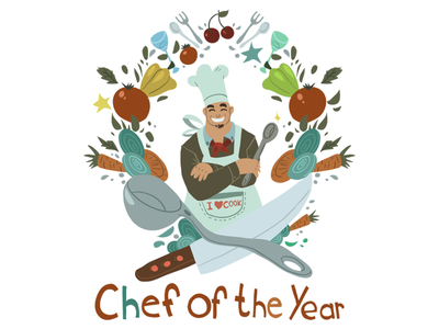 Chef Of The Year knife spoon cool funny graphic cartoon vector flat year chef