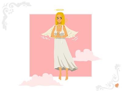 Angel Girl Greeting Card holy christmas illustrator girl fun illustration flat vector card stock angel