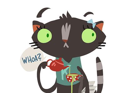 Cat And Tea cartoon flat animal art vector omg tea female girl cat