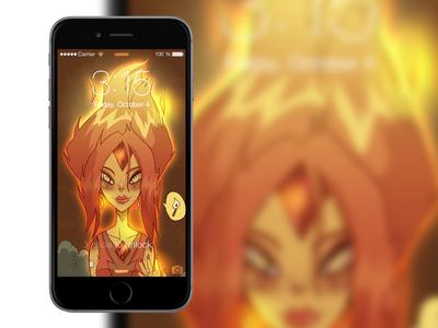 Flame phone screen lock wallpaper digital art photoshop phone fanart time adventure princess flame
