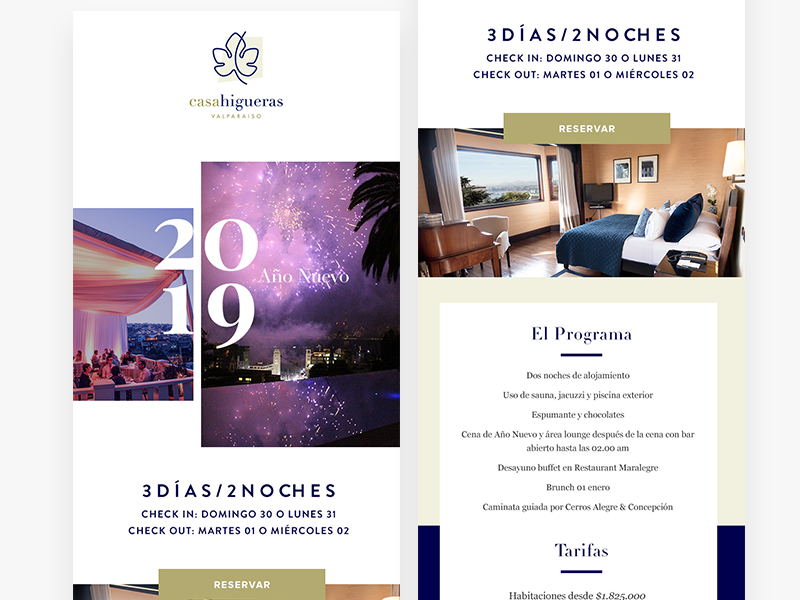 Casa Higueras Hotel Newsletter Design party year new year promo booking typography design yellow clean hotel newsletter mailing