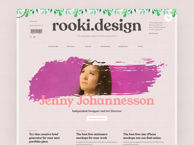 rooki.design / The young designer magazine articles blog interviews brush illustration paper junior young product uiux ui magazine