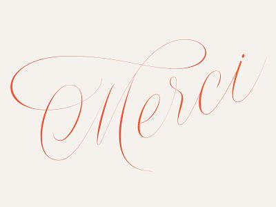 Merci elegant spencerian script lettering calligraphy copperplate merci