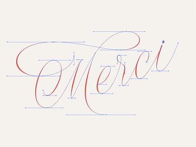 beziérs beziérs thank you spencerian cursive elegant script lettering calligraphy merci copperplate