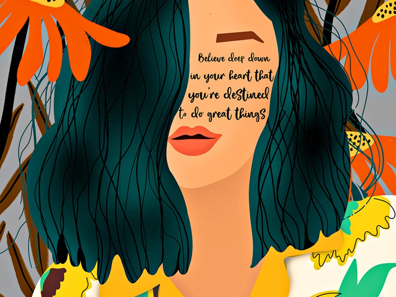 You're destined to do great! believe peace positive contactme staystrong feminism girlpower procreate illustraion wall love inspirational studiodtalk creative business photoshop digital design canvas art