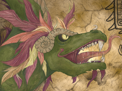 Mythical Threads: Quetzalcoatl mayan art quetzalcoatl photoshop mythology digital painting graphic design web design mythical creatures