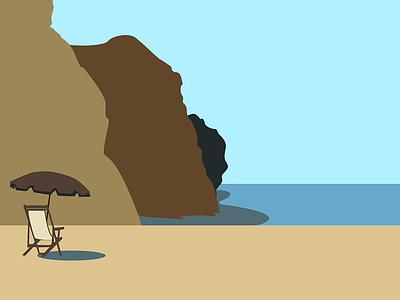 Minimalist Beach Rendering scenery vector illustration beach minimalism illustrator