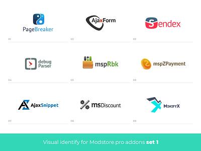 Visual identify for addons branding vector logo web design