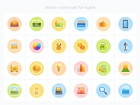 Vector icons set for bank
