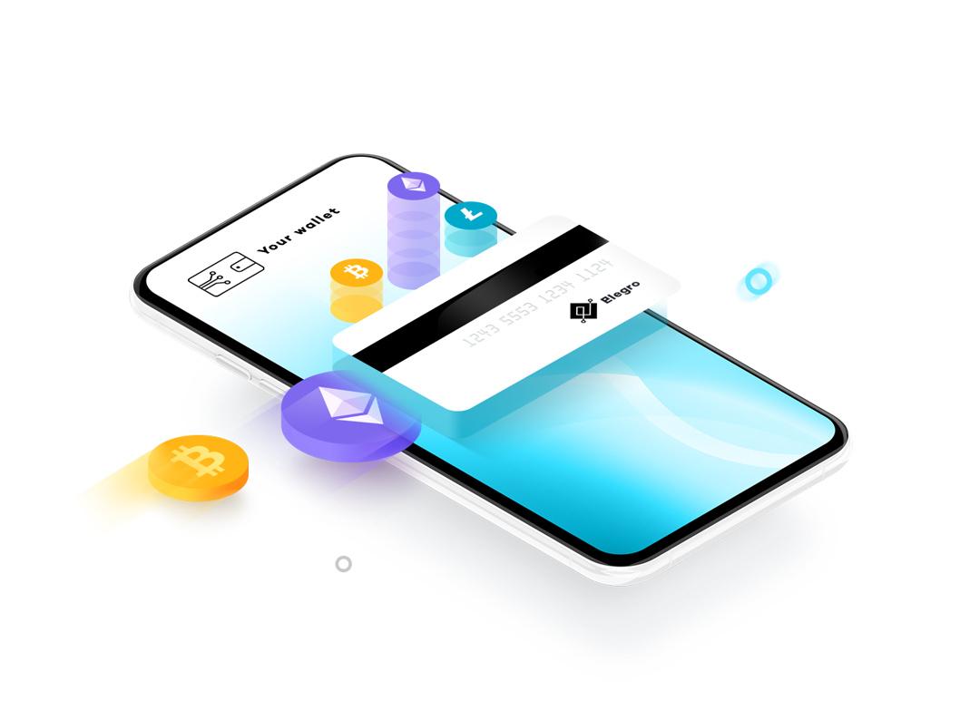 Cryptocurrency acceptance site vector illustration web design