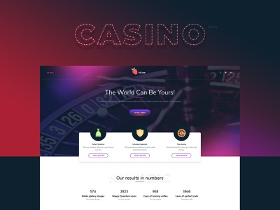 Casino theme sites identity template branding ux web design ui web site design