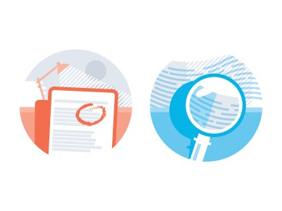 Insights 1 and 2 iconography spot illustrations badges