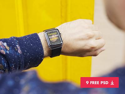 9 free apple watch mockups applewatch template psd photography apple freebie freebies free mockup watch mockups apple watch