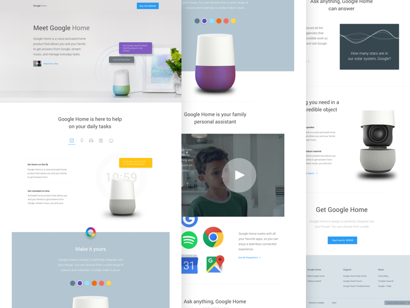 Google home landing page concept by samuel medvedowsky dribbble - Google home page design ...