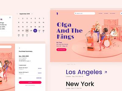 Google AMP - Band website amp google web design desktop pink visual design concert band music responsive website character ui