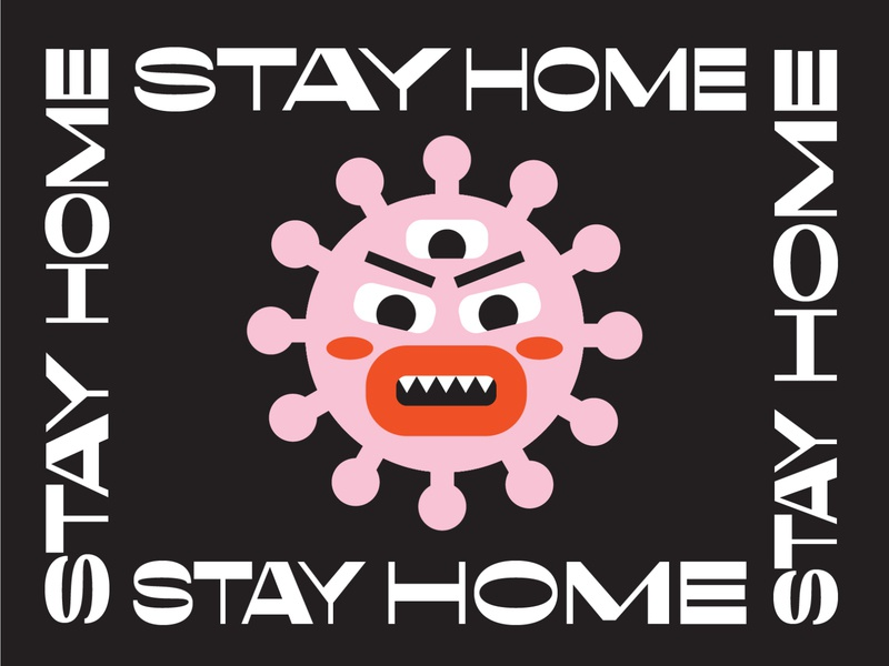 STAY HOME infect pandemic bacteria stayhome covid19 covid-19 stay home bug flu virus covid corona pink illustration icon texture vector minimal