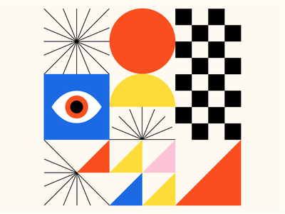 Shape Study 001 eyes yellow pink red primary colors geometry geometric abstraction edmonton eyeball eye abstract shapes blue illustration icon vector minimal