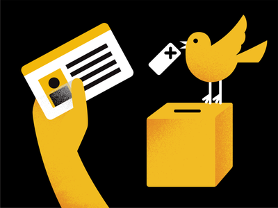 Voting 01 white black yellow texture card hand early bird ballot box voter elections voting vote campaign bird ballot