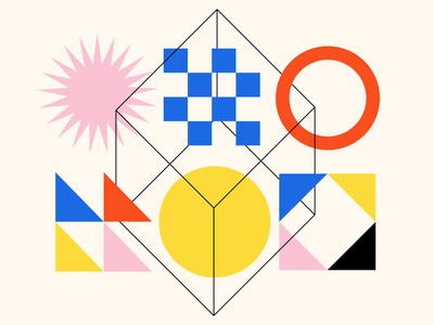 Shape Study 005 yellow red primary colors pink circle square triangle shapes minimal illustration icon geometry geometric edmonton blue abstract abstraction