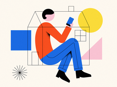 At Home primary colors black pink yellow blue red texture geometry geometric human man portrait covid-19 covid 19 covid quarantine stayhome stay home phone home