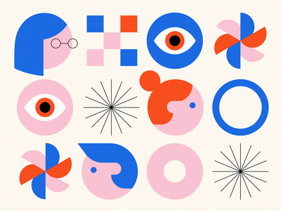 Shapes & Heads eyeball boy girl people icons black blue red pink geometric square minimal abstract woman man people faces heads eyes geometry circles