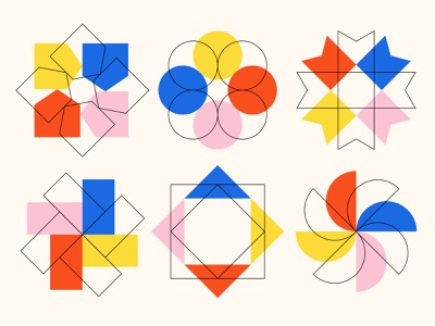 Shape Study 006 repeating rotation pattern abstraction abstract blue edmonton geometric geometry icon illustration minimal shapes triange square circle pink primary colors red yellow