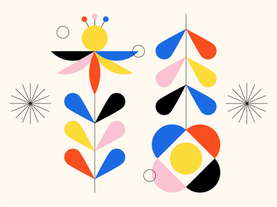 Shape Study 007: Flowers floral nature plants flowers primary colors primary colours circle minimal icon geometry geometric shapes black pink yellow red blue abstract abstraction pattern