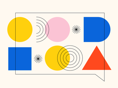 Communication branding contact talking communication black yellow pink red blue geometric geometry abastraction square triangle circle bauhuas primary colors website illustrations abstract shapes