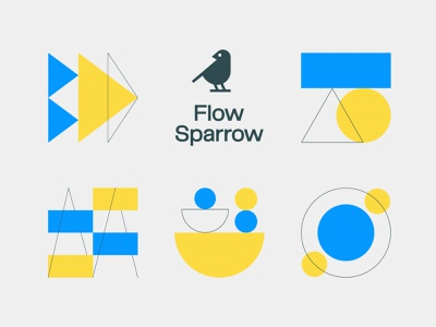 Flow Sparrow icon logo yellow blue geometry circle square rectangle minimal geometric iconography branding sparrow bird triangle icon set brand identity abstraction bauhaus website icons