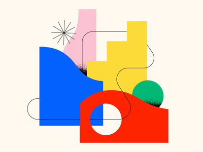 Shape Study: 009 geometric grain texture textures icon circle flat clean simple primary colors green red blue pink yellow bauhaus geometry abstract design abstraction abstract shapes