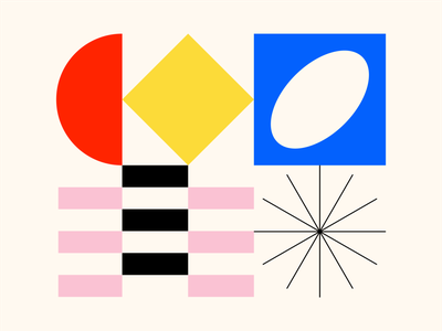 Shape Study: 010 square bauhaus star shapes oval rectangle circle abstract geometry black yellow geometric monoline pink illustration blue texture icon vector minimal
